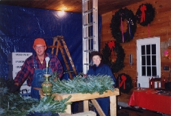 Bill Asack making a large wreath